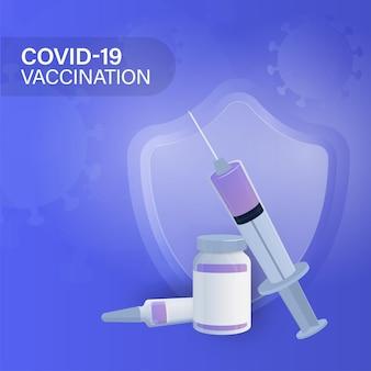 Conceito de vacinação covid-19 com frascos de vacina, injeção de seringa e escudo de segurança sobre fundo azul.