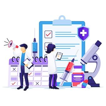 Conceito de vacinação, cura para o vírus corona, hora de vacinar, médicos com seringa, ilustração do frasco da vacina