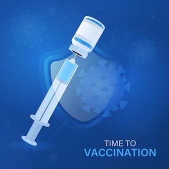 Conceito de vacinação da proteção da covid 19.