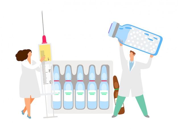 Conceito de vacinação. médicos de vetor com ampola de seringa com medicamento.