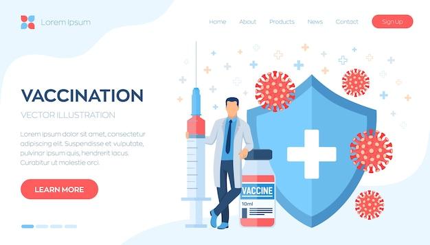 Conceito de vacinação ou imunização. médico e seringa com uma vacina. escudo de proteção e vírus.