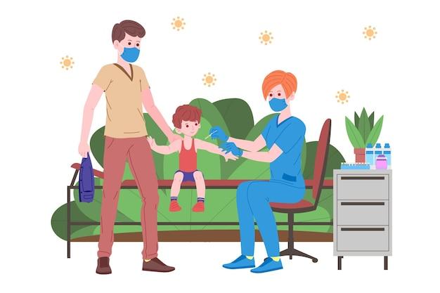 Conceito de vacinação para saúde de imunidade. vaccine anti covid-19. os médicos fazem uma injeção de vacina antivírus para crianças e convidam a seguir. saúde infantil, coronavírus, prevenção e imunização