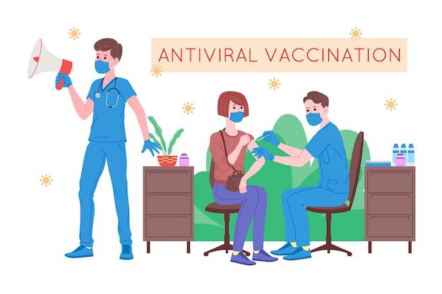 Conceito de vacinação para saúde de imunidade. vaccine anti covid-19. os médicos fazem uma injeção de vacina contra a gripe em um paciente no hospital e a convidam a seguir. cuidados de saúde, coronavírus, prevenção e imunização