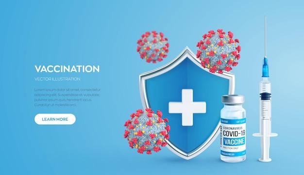 Conceito de vacinação, seringa com escudo protetor de frasco de vacina e células virais
