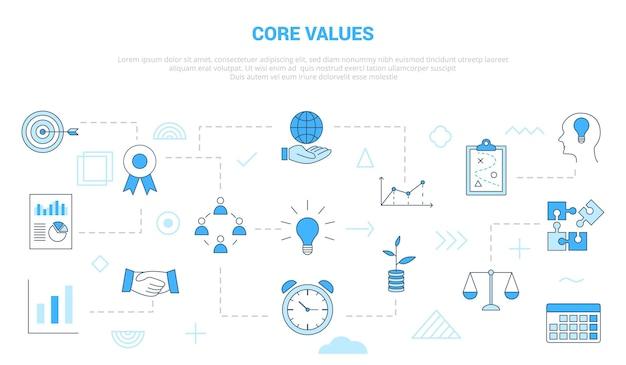 Conceito de valores essenciais com banner de modelo de conjunto de ícones com ilustração em vetor moderno estilo de cor azul