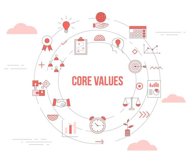 Conceito de valores essenciais com banner de modelo de conjunto de ícones e ilustração em vetor de forma redonda de círculo