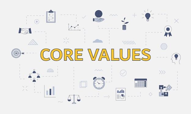 Conceito de valores essenciais com conjunto de ícones com palavra ou texto grande na ilustração vetorial central