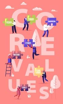 Conceito de valores essenciais. pequenos empresários de personagens masculinos e femininos segurando enormes peças do quebra-cabeça. ilustração plana dos desenhos animados