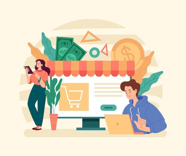 Conceito de varejo de venda de desconto de compras de comércio eletrônico de negócios na web online.