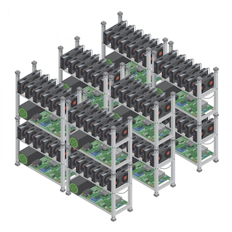 Conceito de várias fazendas de mineração de moeda criptográfica isométrica com placas de vídeo gráficas isoladas.
