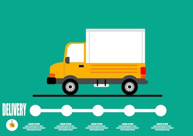 Conceito de vector.delivery de caminhão amarelo