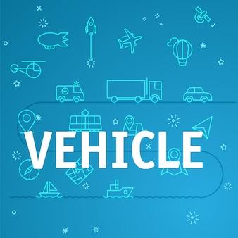 Conceito de veículo. ícones de linha fina diferentes incluídos