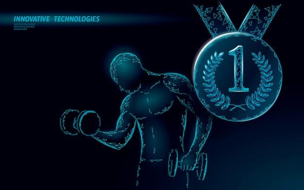 Conceito de vencedor do campeão forte peso esportista 3d.