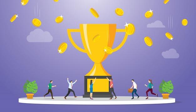 Conceito de vencedor do negócio de dinheiro prêmio