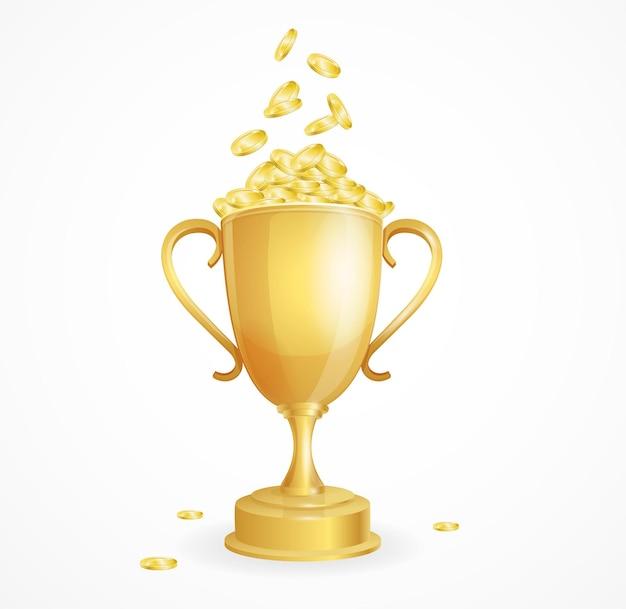 Conceito de vencedor. taça de ouro e moedas.