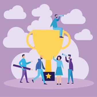 Conceito de vencedores de sucesso de equipe