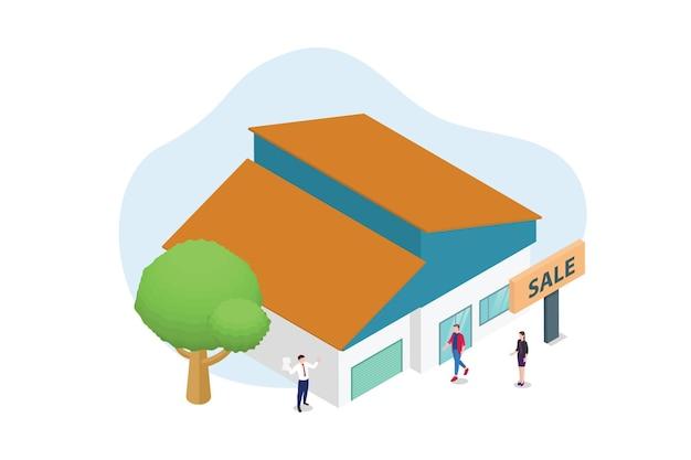Conceito de venda de casa com pessoas e edifícios residenciais e sinal de banner com estilo isométrico moderno