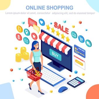 Conceito de venda de compras online comprar em loja de varejo