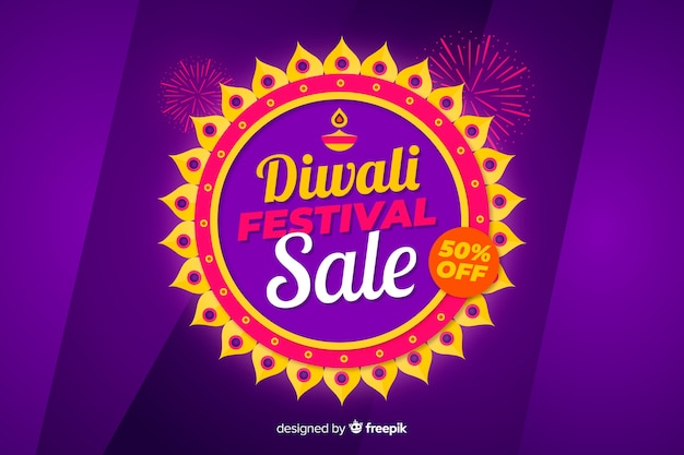 Conceito de venda de design plano diwali