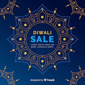 Conceito de venda de diwali com fundo design plano