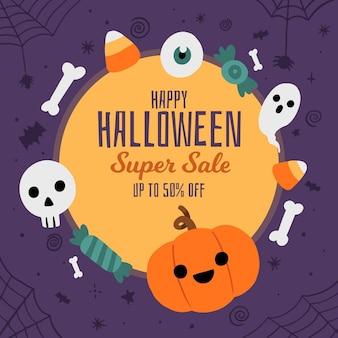 Conceito de venda de halloween desenhado à mão