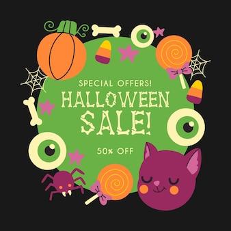 Conceito de venda de halloween desenhados à mão