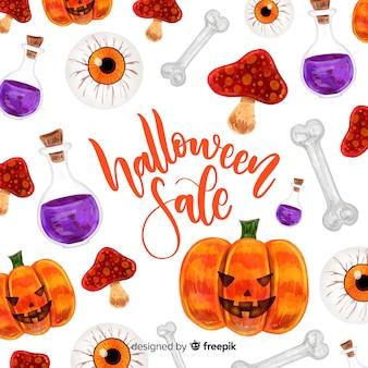 Conceito de venda de halloween em aquarela