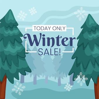 Conceito de venda de inverno desenhado à mão