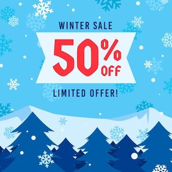 Conceito de venda de inverno em design plano