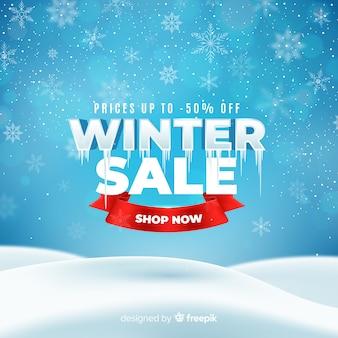 Conceito de venda de inverno realista
