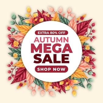 Conceito de venda de outono desenhado à mão