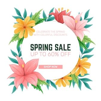 Conceito de venda de primavera colorido mão desenhada