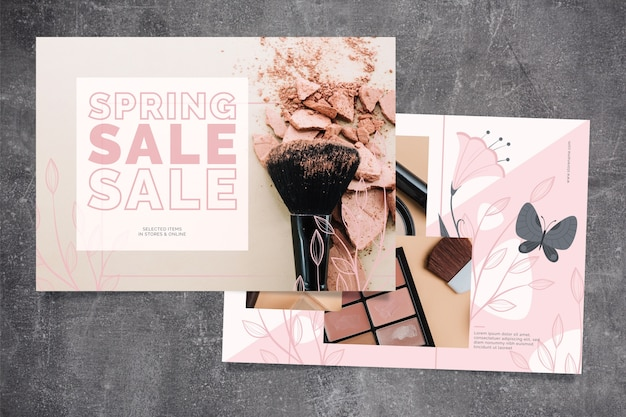 Conceito de venda de primavera com acessórios de maquiagem
