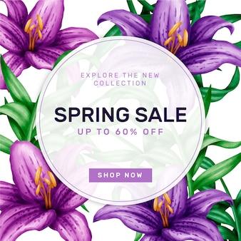 Conceito de venda de primavera em aquarela