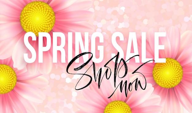 Conceito de venda de primavera. fundo de verão com fundo rosa margarida. ilustração