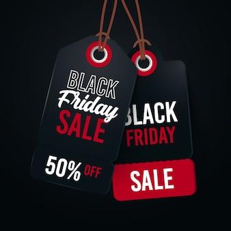 Conceito de venda de sexta-feira negra com fundo de etiqueta