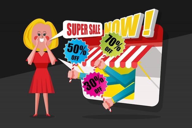 Conceito de venda e compras, as senhoras rezam o vestido vermelho gritado aos clientes para comprar na loja, design de estilo de personagem de desenho animado