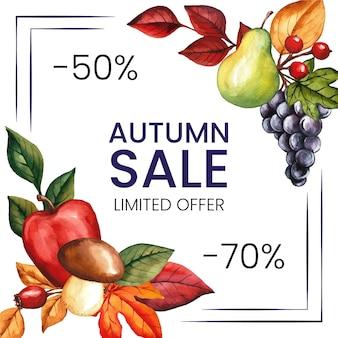 Conceito de venda outono aquarela