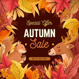 Conceito de venda outono mão desenhada