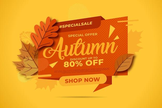 Conceito de venda outono plana