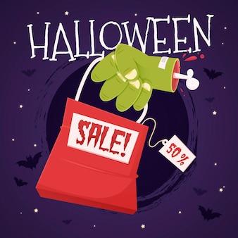 Conceito de venda plana de halloween Vetor grátis