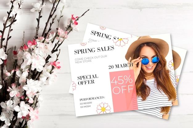 Conceito de venda primavera com flores