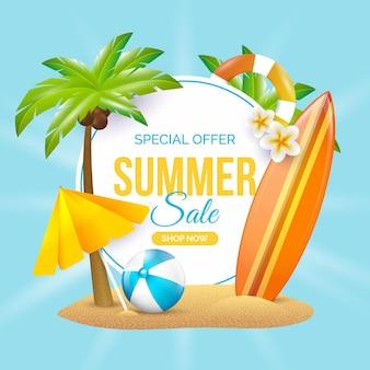 Conceito de venda realista de verão