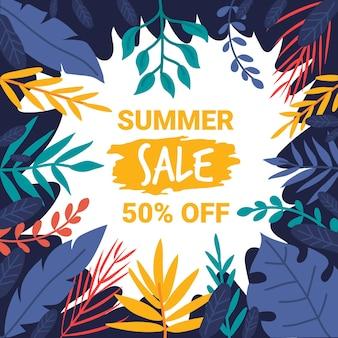 Conceito de vendas sazonais de verão desenhados à mão