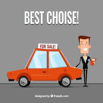 Conceito de vendedor de carros plana