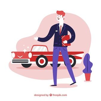 Conceito de vendedor de carros