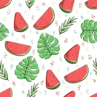 Conceito de verão tropical em fatias e folhas de melancia padrão sem emenda
