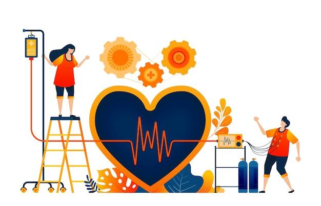 Conceito de verificar a saúde do coração com o símbolo do amor e cardiologia das ondas. tratamento saudável