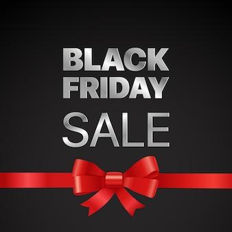 Conceito de vetor de black friday etiqueta de vetor de venda de black friday com fita vermelha