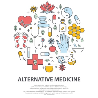 Conceito de vetor de centro de medicina alternativa.